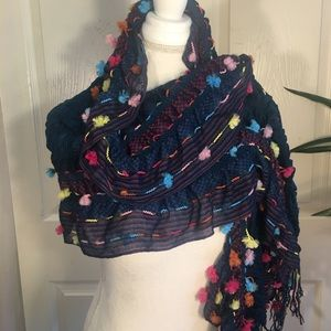 Accessories - Boho Pom-Pom Scarf/Wrap